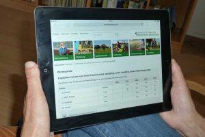 www.sortenberatung.de auf einem Tablet, © LWK Nordrhein-Westfalen