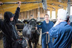 Nutztierhaltung wird in den Kurzfilmen des LBZ Echem (hier ein Foto von den Dreharbeiten mit dem TV-Moderator Tim Niedernolte) gut verständlich erklärt, © Wolfgang Ehrecke