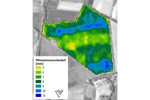 Die Applikationskarte visualisiert den aktuellen Wasserbedarf der einzelnen Teilflächen, © BayWa AG