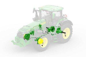 Skizze der Reifendruckanlage für 8R-Traktoren, © John Deere